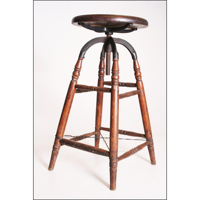 Vintage Industrial Wood & Cast Iron Adjustable Counter Stool - Image 8 of 11