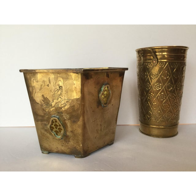 1980s Vintage Brass Planters - A Pair For Sale - Image 10 of 10