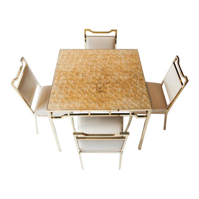 """1950s USA William """"Billy"""" Haines Capiz Shell Game Table and Chairs For Sale"""