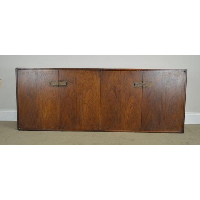 Mid Century Modern Walnut Low 4 Door Credenza Cabinet For Sale - Image 10 of 13