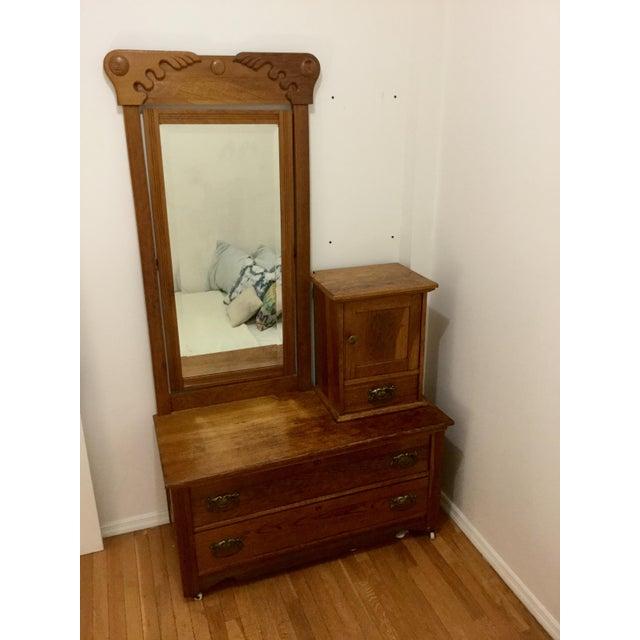 Antique Carved Oak Dresser with Mirror - Image 2 of 4