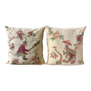 Metrax Craye Flemish Tapestry Singerie Pillows- a Pair For Sale