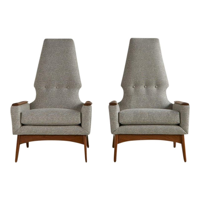 A Pair of Highback Lounge Chairs, 1960s For Sale