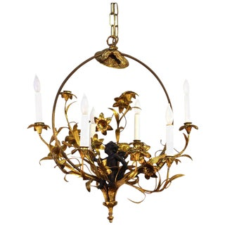 1950s Italian Gilded Chandelier With Flowers and Putti For Sale