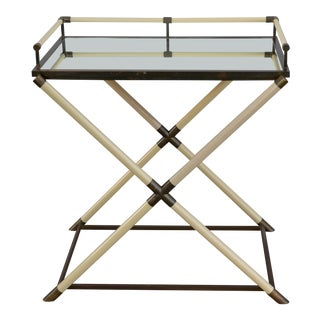 Hollywood Regency Ivory and Patinated Brass Bar Cart or Console For Sale