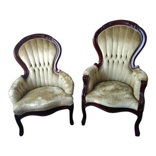 Victorian His & Hers Upholstered Chairs - A Pair