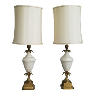 1950s Vintage Neoclassical Urn Style Table Lamps- A Pair For Sale