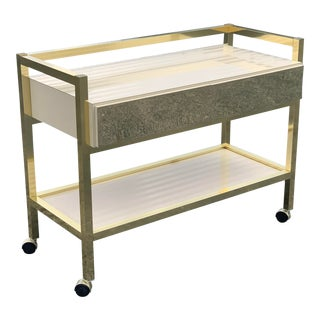 1980s Vintage Brass and Laminate Bar Cart For Sale