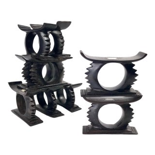 Vintage Hand Carved Ebony Napkin Rings With White Bone Inlay - Set of 10 For Sale