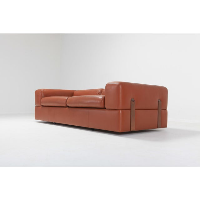 Contemporary Minimalist Cognac Leather Sofa by Tito Agnoli for Cinova For Sale - Image 3 of 12