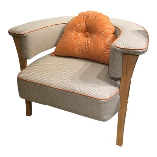 Mid-Century Natural Linen Armchair with Orange Piping For Sale