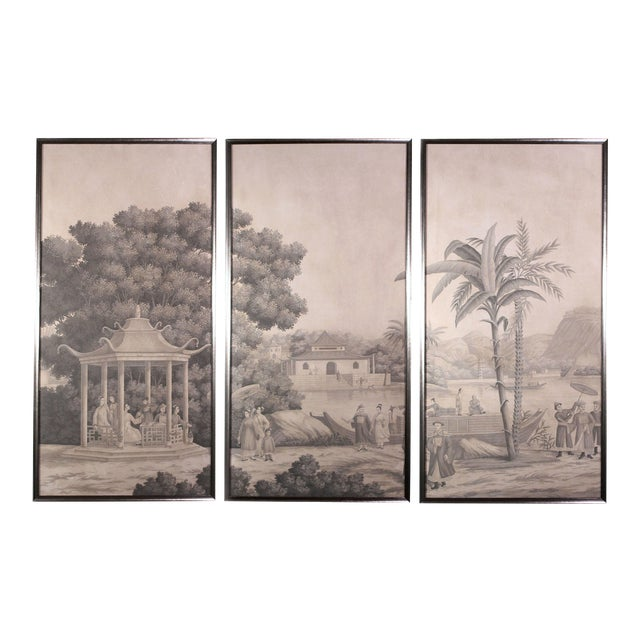 Large Scale Triptych of Idyllic Scenes of Ancient China, Paintings in Brunaille, Jardins en Fleur Showroom Samples For Sale