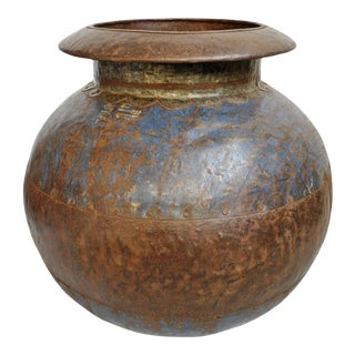 Large Old India Iron Water Pot For Sale