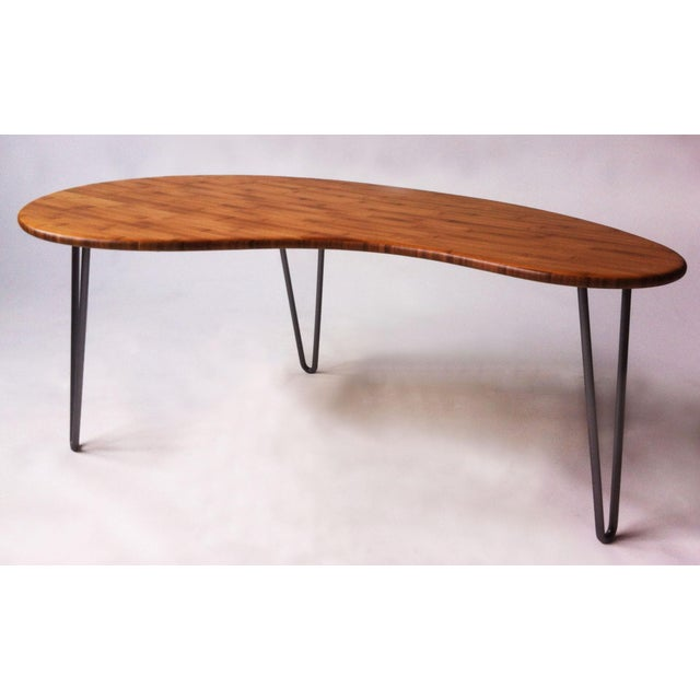 Mid-Century Style Kidney Bean Bamboo Coffee Table - Image 4 of 5