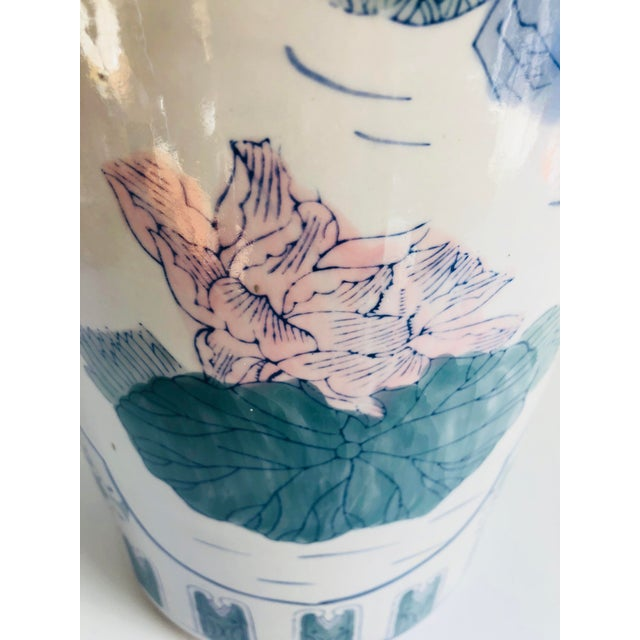 Vintage Chinoiserie Pink, Blue, Lavender & Green Chinese Porcelain Umbrella Holder For Sale - Image 4 of 8