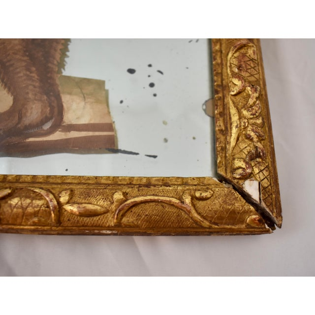 Gold 19th C. French Exotic Hand-Painted Decoupage Mirror, Animal Trainer & Bear For Sale - Image 8 of 13