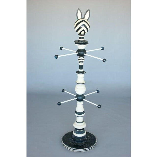 Metal 1960's Zebra-Stripe Coat Stand For Sale - Image 7 of 10