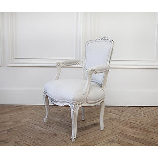 Vintage Louis XV Style Painted and Upholstered French Chair in Linen Preview