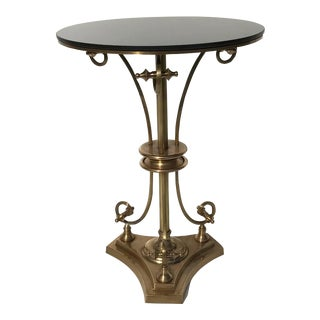Neoclassical Tripod Brass Gueridon Drinks Table