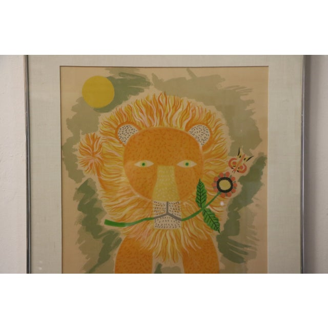 Lion & Butterfly Lithograph by Henri Maik - Image 5 of 7