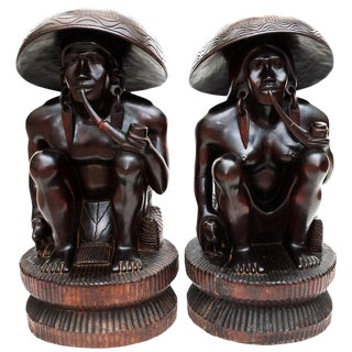 Early 20th C. Narra Wood Sculptures- a Pair For Sale