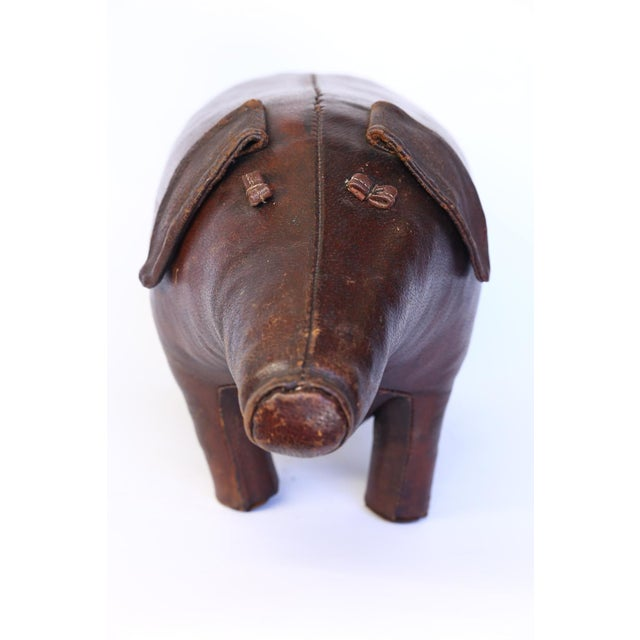Leather Vintage Leather Abercrombie and Fitch Pig Footstool by Dimitri Omersa For Sale - Image 7 of 12