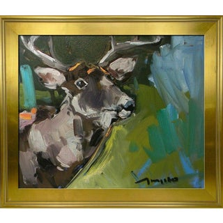 Jose Trujillo Modern Expressionism Deer Outdoors Wild Life Framed Oil Painting For Sale