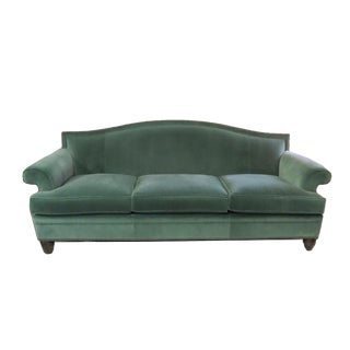 Hickory Chair Company Green Velvet Sofa For Sale