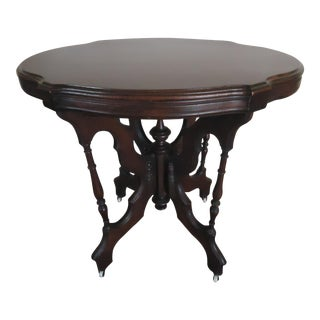 Antique Victorian Eastlake Parlor Wood Table For Sale