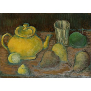 Laurent Marcel Salinas, Theiere Jaune Et Fruits (340), Oil on Canvas For Sale