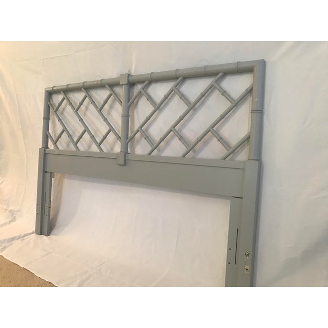 Henry Link Bali Hai Chinese Chippendale Queen Fretwork Headboard For Sale - Image 9 of 9