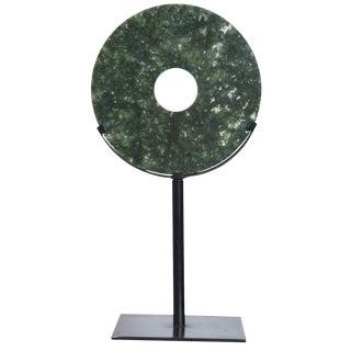Asian Modern Robert Kuo Jade Bi-Disc on Iron Stand For Sale
