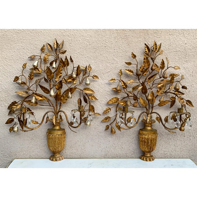Hollywood Regency Giltwood Wall Sconces - a Pair For Sale - Image 12 of 12