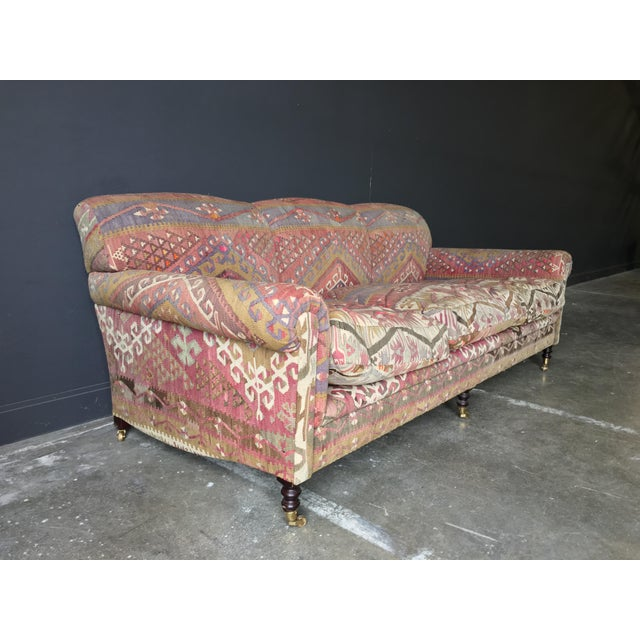 Amazing Kilim Covered George Smith Roll Arm in beautiful muted colors and luxurious goose down cushions.