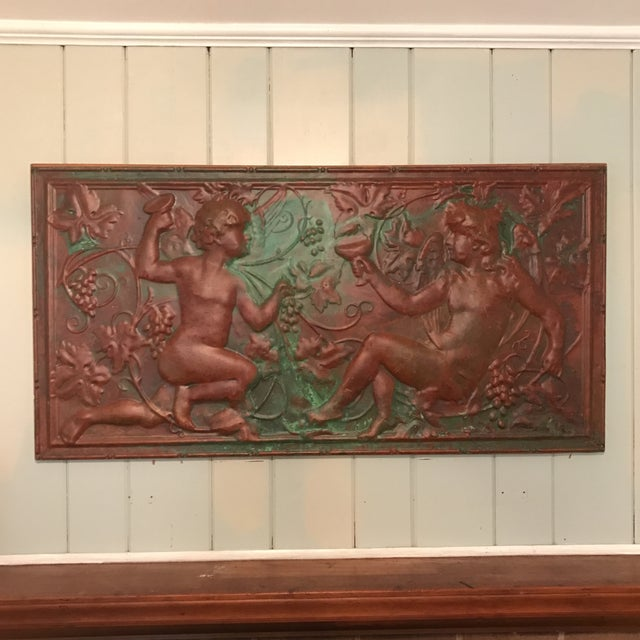 Amazing Victorian Copper Cherub Wall Panel. This is a large copper panel that has been mounted to a wood frame for easy...