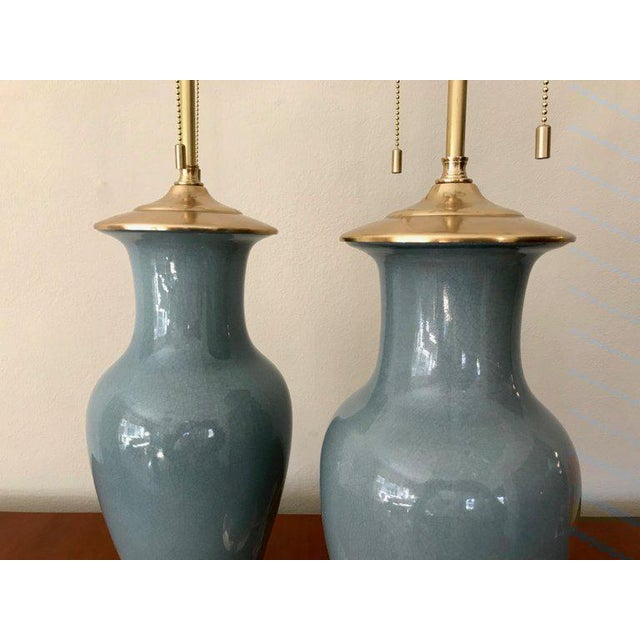 Slate Blue Ceramic on 23-Karat Water Gilt Base Table Lamps - a Pair For Sale In Dallas - Image 6 of 13
