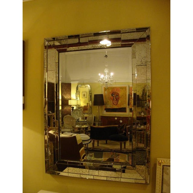 Art Deco Art Deco Mid- Century Style Brick Framed Distressed Wall Mirrors - A Pair For Sale - Image 3 of 6
