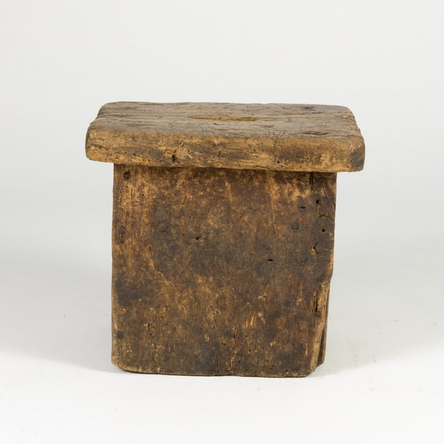 Small Rustic Square Oak Stool With Pierced Top, English Circa 1800. For Sale - Image 10 of 13