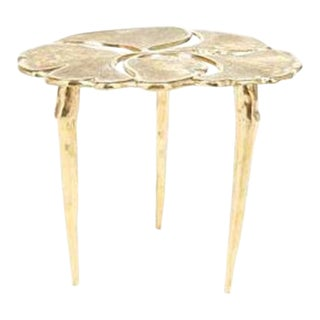 Mid-Century Modern Santa Clara Brass Lily Pad Side Table For Sale