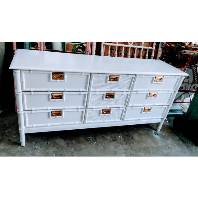 Stanley Furniture Stanley Faux Bamboo Palm Beach Regency White Gloss Campaign Style 9 Drawer Dresser For Sale - Image 4 of 9