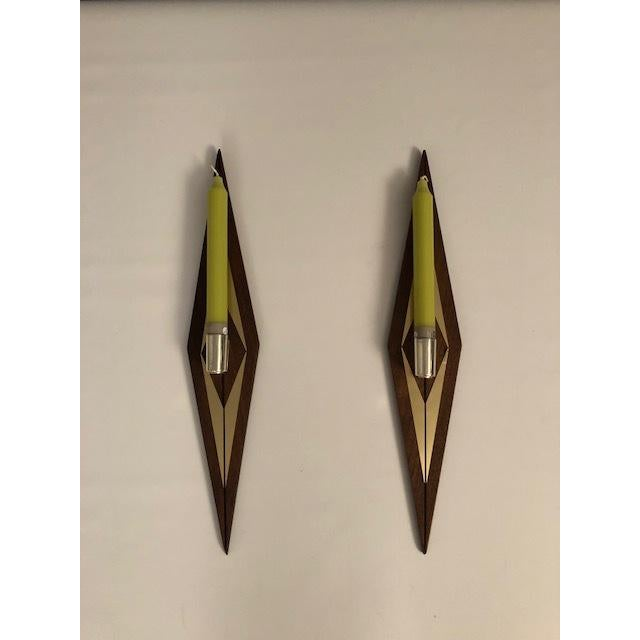 1970s Mid-Century Modern Candle Wall Sconces - a Pair For Sale - Image 4 of 7