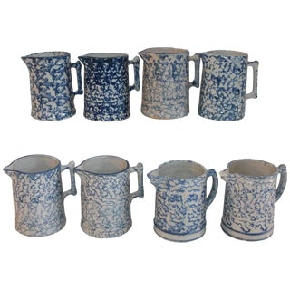 19th Century Sponge Ware Pottery Pitchers - Collection of 8 For Sale