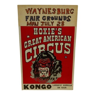 "1960 Vintage Circus Poster ""Kongo - Largest Gorilla on Tour"" For Sale"