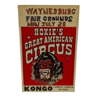 "1960 Vintage Circus Poster ""Kongo - Largest Gorilla on Tour"""