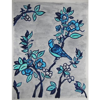 Botanical With Bird Chinoiserie Painting by Cleo Plowden For Sale