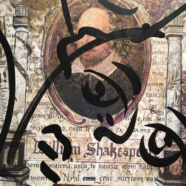 """Peter Keil Peter Keil Canvas Painting, """"Shakespeare Faces"""" For Sale - Image 4 of 13"""