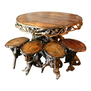 Cocobolo Rustic Dining Table & Stools For Sale