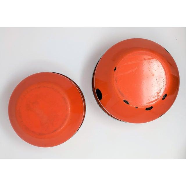 Enamel Vintage Red Enameled Metal Nesting Bowls -A Pair For Sale - Image 7 of 8