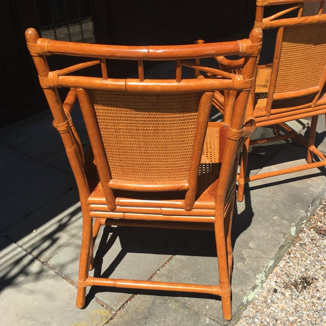 Brown Palecek Cane Seat Armchairs - a Pair For Sale - Image 8 of 11