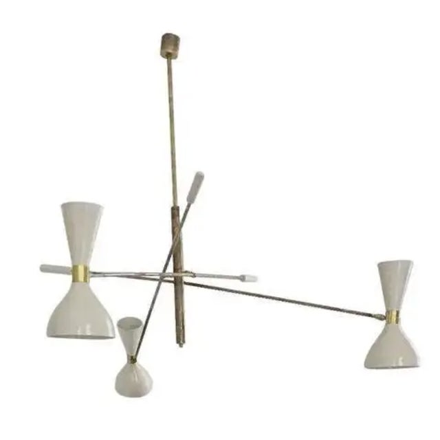 Brass 'Triennale' Style Adjustable Three-Arm Chandelier For Sale - Image 8 of 8
